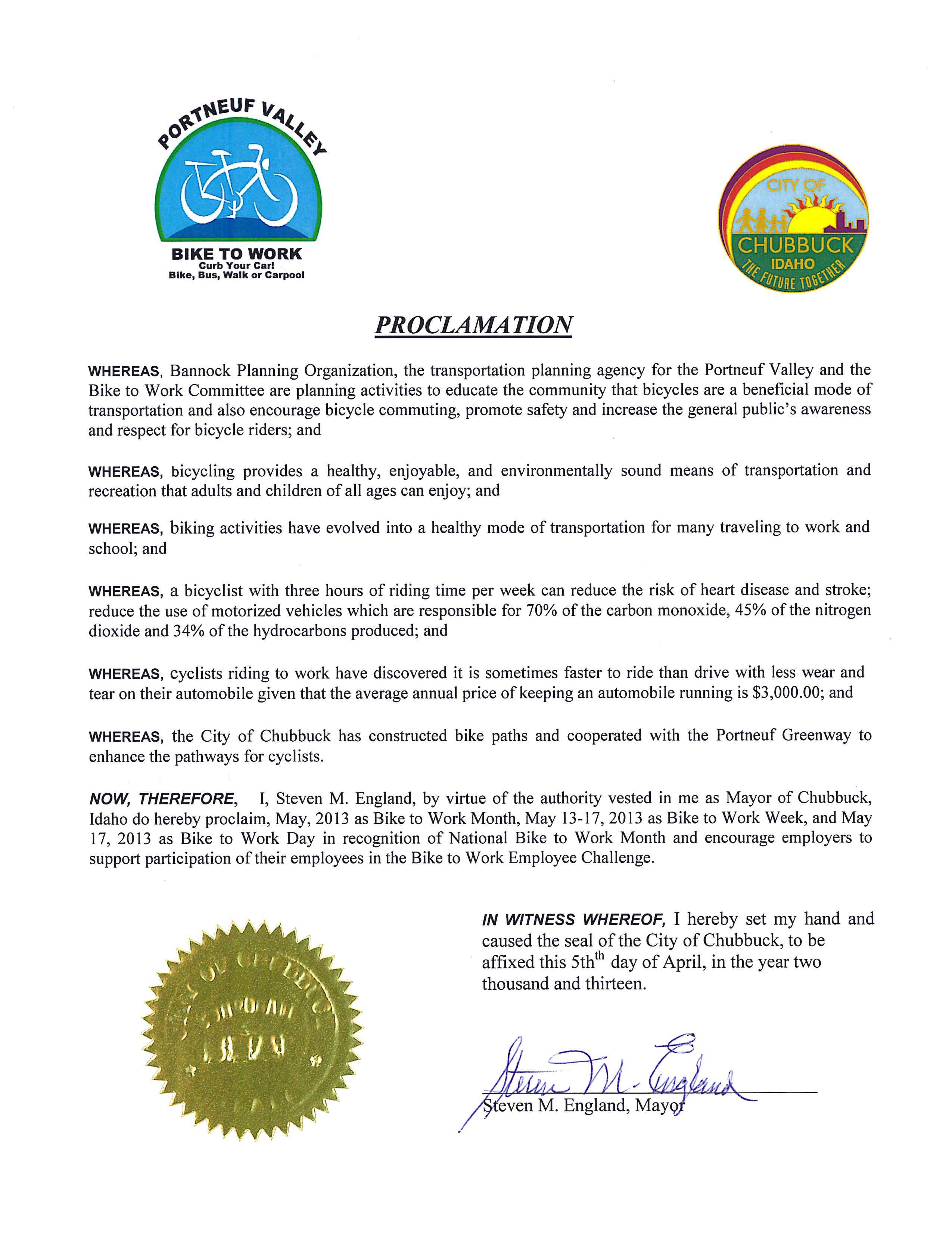 City of Chubbuck Bike to Work Proclamation